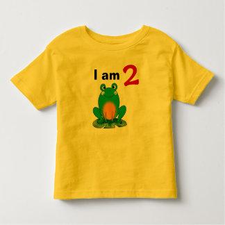 I am 2 years old today (cartoon green frog) tshirt