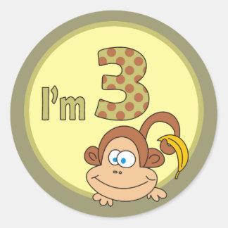 I am 3 Cute Monkey With Banana Birthday Stickers