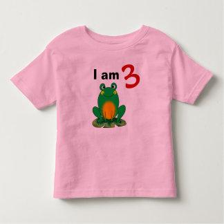 I am 3 years old today (cartoon green frog) tee shirt