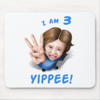 'I Am 3 - Yippee!' - Age 3 Birthday Girl Mouse Mat