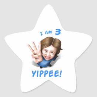 'I Am 3 - Yippee!' - Age 3 Birthday Girl Star Sticker