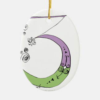 I Am 3 yrs Old from tony fernandes design Ceramic Oval Decoration