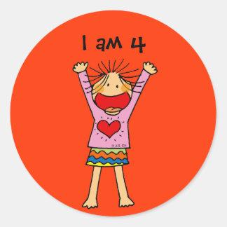 I am 4 round sticker