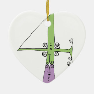 I Am 4 yrs Old from tony fernandes design Ceramic Heart Decoration