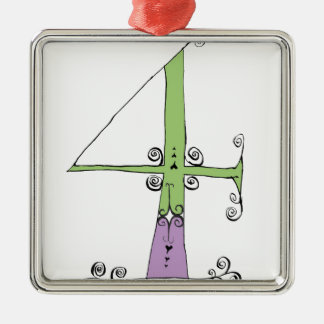 I Am 4 yrs Old from tony fernandes design Silver-Colored Square Decoration
