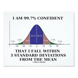I Am 99.7% Confident Fall Within 3 Std Deviations 11 Cm X 14 Cm Invitation Card