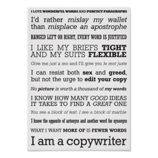 'I am a copywriter' poster