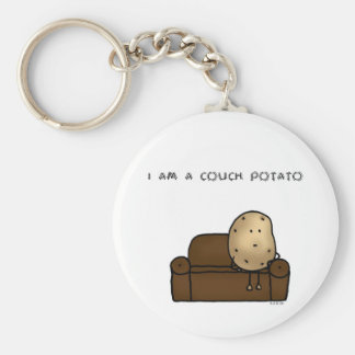 I am a couch potato basic round button key ring