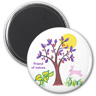 I am a friend of nature painting & quotation 6 cm round magnet
