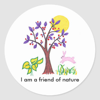 I am a friend of nature painting & quotation round sticker