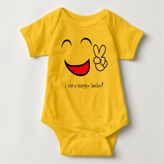 I am a Happy Baby Cute Jersey Suit Baby Bodysuit