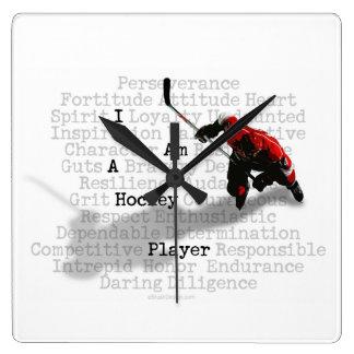 I am a Hockey Player Square Wall Clock