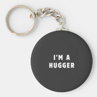 I am a hugger basic round button key ring