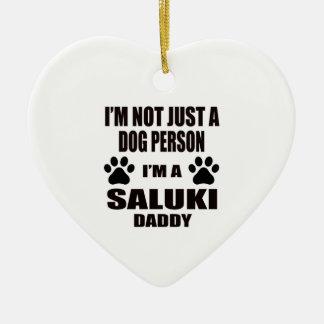 I am a Saluki Daddy Ceramic Heart Ornament