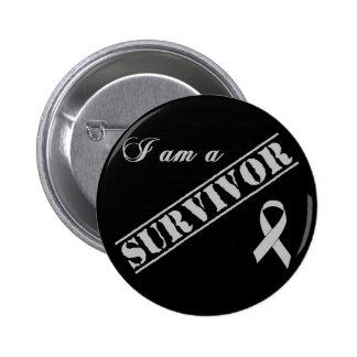 I am a Survivor - Brain Tumor / Cancer Grey Ribbon 6 Cm Round Badge