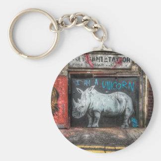 I Am A Unicorn, Shoreditch Graffiti (London) Basic Round Button Key Ring