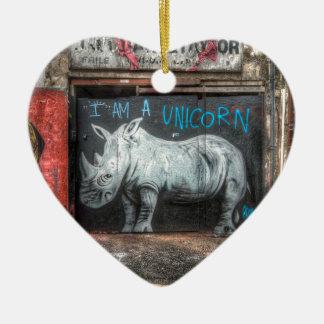 I Am A Unicorn, Shoreditch Graffiti (London) Ceramic Heart Decoration