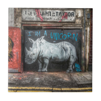I Am A Unicorn, Shoreditch Graffiti (London) Small Square Tile