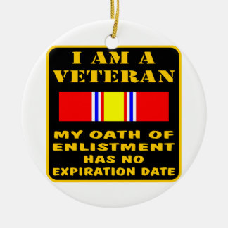 I Am A Veteran My Oath Of Enlistment Has No Expire Double-Sided Ceramic Round Christmas Ornament