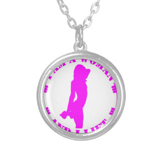 I am a woman and I lift official design pink Silver Plated Necklace