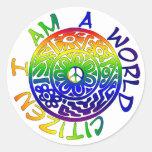 I Am A World Citizen Round Sticker