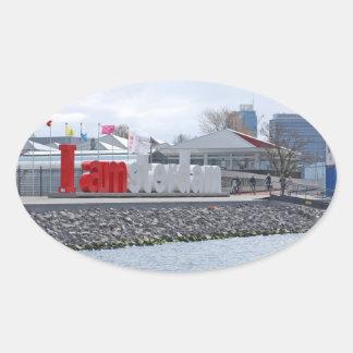 I am Amsterdam Sign, Netherlands Oval Sticker