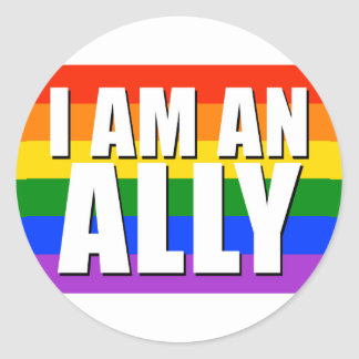 I Am An Ally Round Sticker