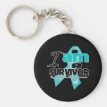 I am an Ovarian Cancer Survivor Basic Round Button Key Ring