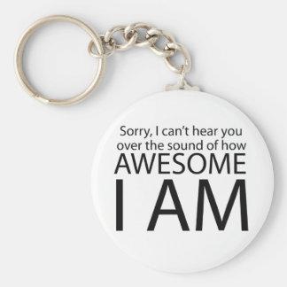 I am awesome basic round button key ring