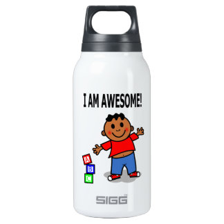 I AM AWESOME! Cute Cartoon Boy Water Bottle