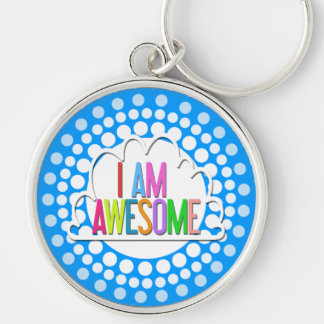 """""""I Am Awesome"""" Rainbow Retro Graphic Silver-Colored Round Key Ring"""
