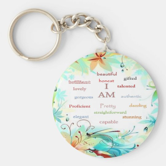 I am..... basic round button key ring