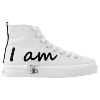 I am Black Circle Dot Spot Zips High Top Shoes Printed Shoes