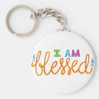 I Am Blessed (Original Typography) Basic Round Button Key Ring