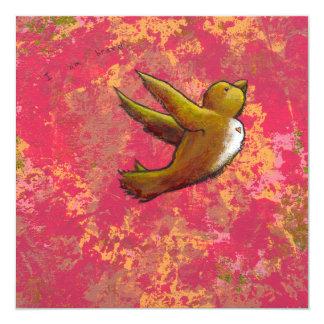 I am Brave - beautiful cute fun bird w/ heart 13 Cm X 13 Cm Square Invitation Card