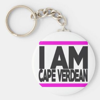 i am cape Verdean Basic Round Button Key Ring