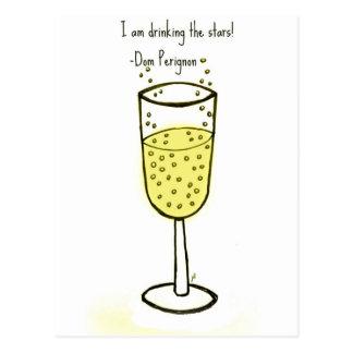 I am drinking the stars...champagne print by jill postcard