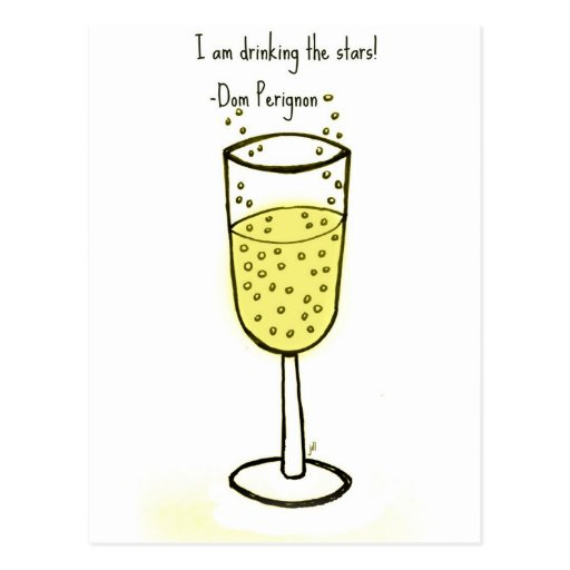 I am drinking the stars...champagne print by jill post cards
