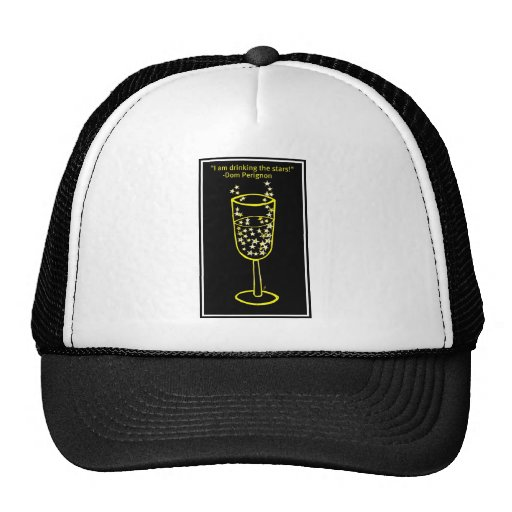 I am drinking the stars champagne print in yellow mesh hats