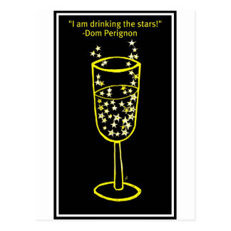 I am drinking the stars champagne print in yellow postcard