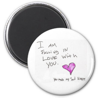 i AM FALLiNG iN LOVE WiTH YOU HEARt SOUL 6 Cm Round Magnet