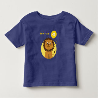 I am four lion yellow balloon toddler T-Shirt