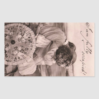 """""""I am fully occupied!"""" romantic vintage kiss funny Rectangular Sticker"""