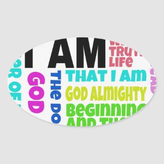 I Am God Oval Sticker