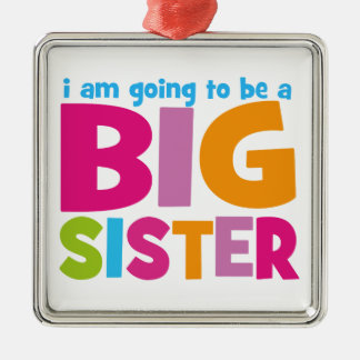 I am going to be a Big Sister Silver-Colored Square Decoration