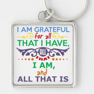 I Am Grateful Silver-Colored Square Key Ring