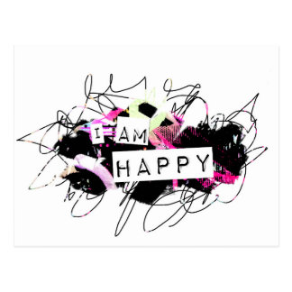 i am happy  Feel Good.Be Happy.Tell the World. Postcard