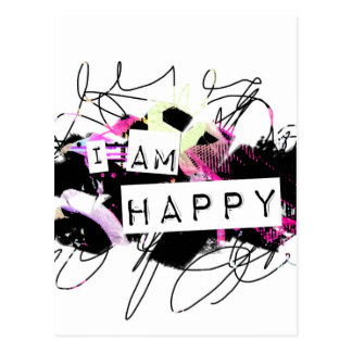 i am happy  Feel Good.Be Happy.Tell the World. Postcard