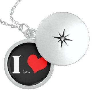 I Am In Love Black Round Locket Necklace
