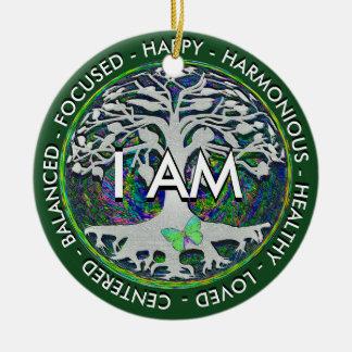 I AM Inspirational Message. Round Ceramic Decoration